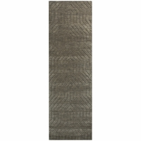 """Home Technique Wool Rectangle Runner Area Rug 2'6""""x 8'Dark Taupe Tan Brown Solid"""