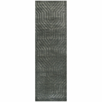 """Rizzy Technique Wool Rectangle Runner Area Rug 2'6""""x 8'Charcoal Grey Black Solid"""