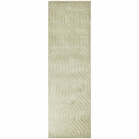 """Rizzy Home New Technique Wool Rectangle Runner Area Rug 2'6""""x 8'Light Grey Solid"""
