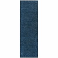 """Rizzy Home New Technique Wool Rectangle Runner Area Rug 2'6""""x 8'Navy Blue Solid"""