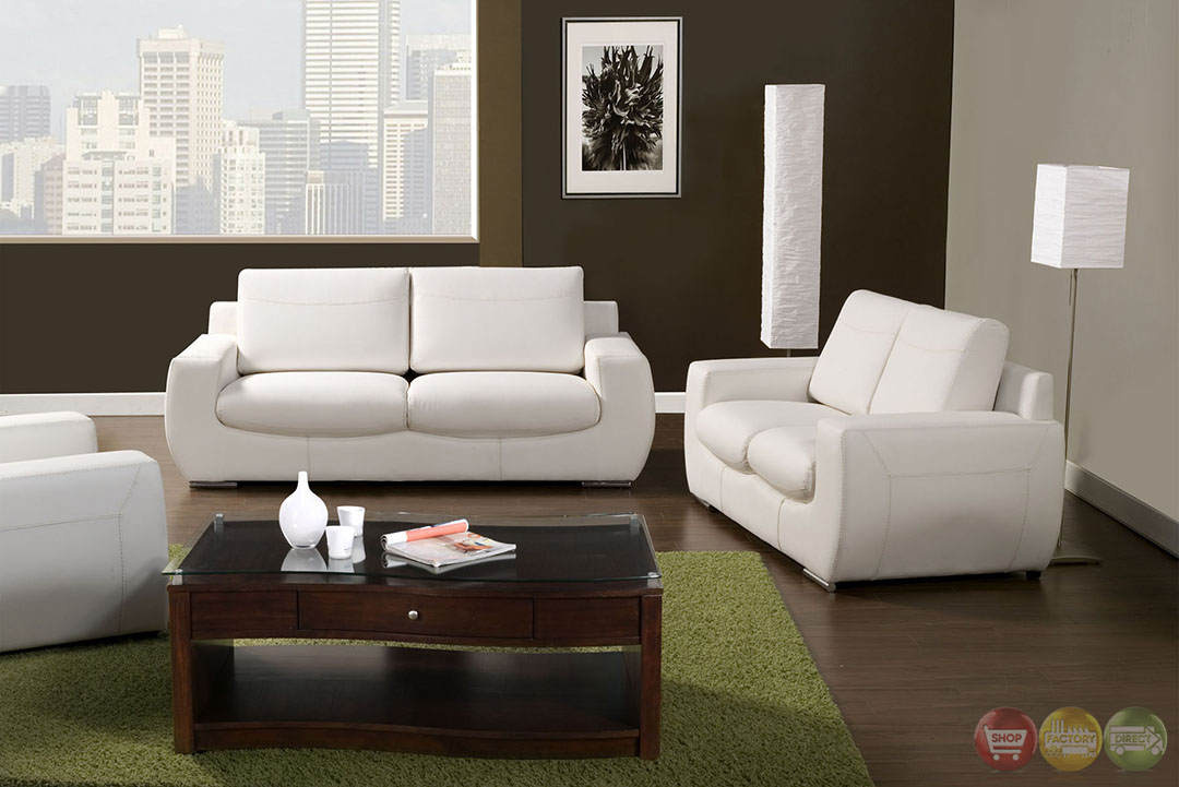 Tekir contemporary white living room set with bonded for Modern living room sets
