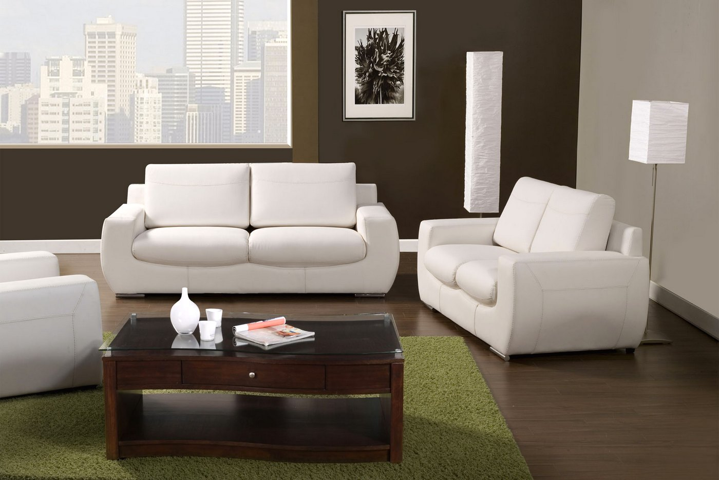 tekir contemporary white living room set with bonded 78655