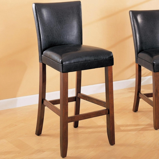 telegraph set of 2 black faux leather bar stools. Black Bedroom Furniture Sets. Home Design Ideas