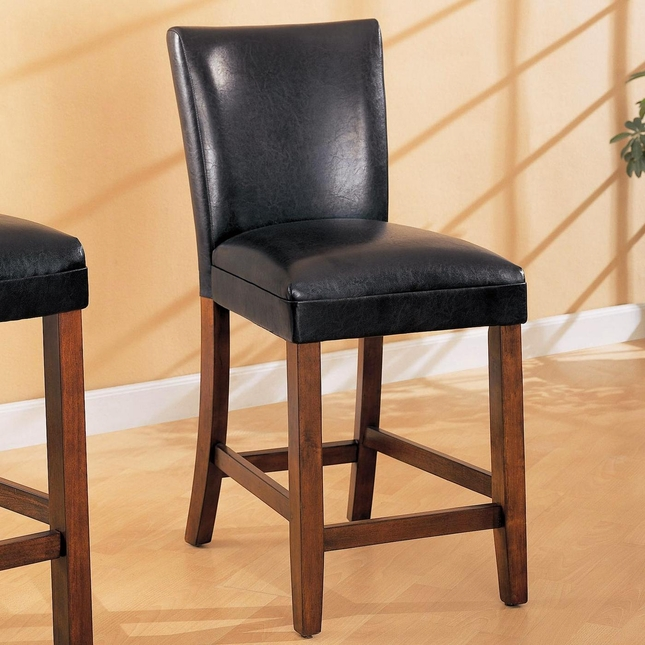 Telegraph Set of 2 Cherry Finish Black Fabric Bar Stools