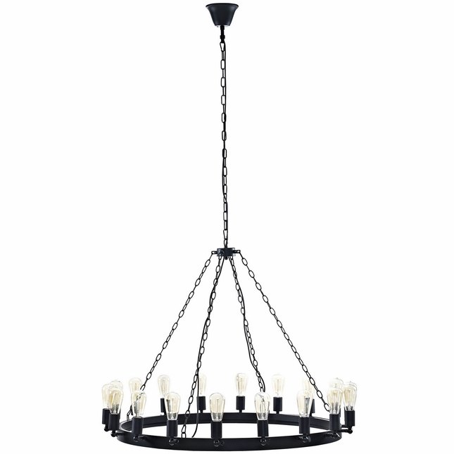 "Teleport Industrial 43"" Suspension-style 18-bulb Chandelier, Brown"
