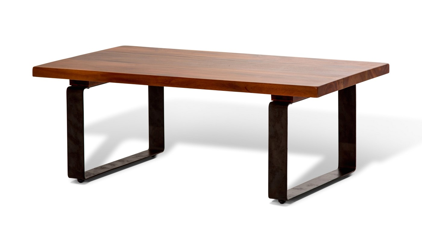 telluride rustic country style mahogany coffee table with metal legs. Black Bedroom Furniture Sets. Home Design Ideas
