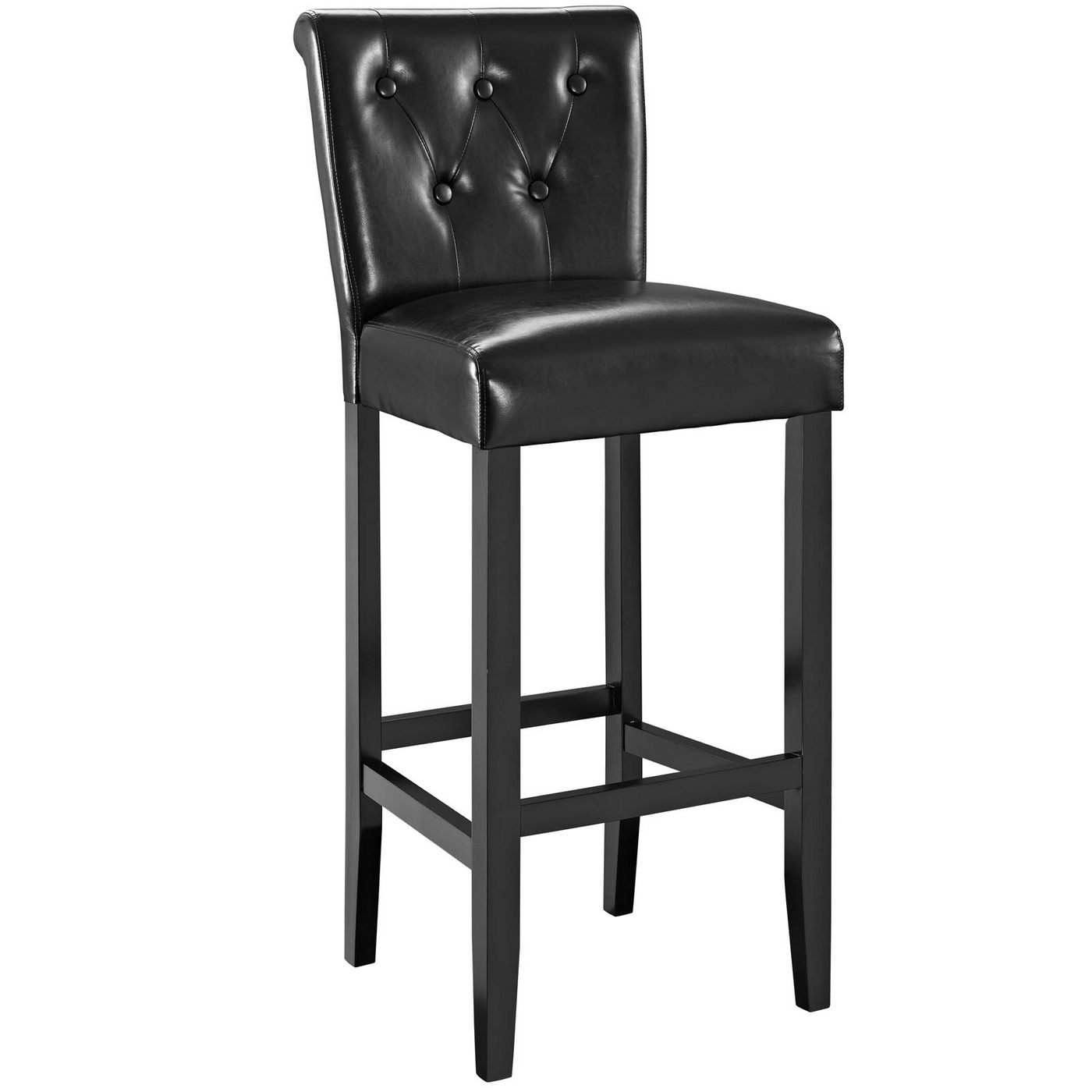 tender modern button tufted faux leather bar stool w foot stretcher black. Black Bedroom Furniture Sets. Home Design Ideas