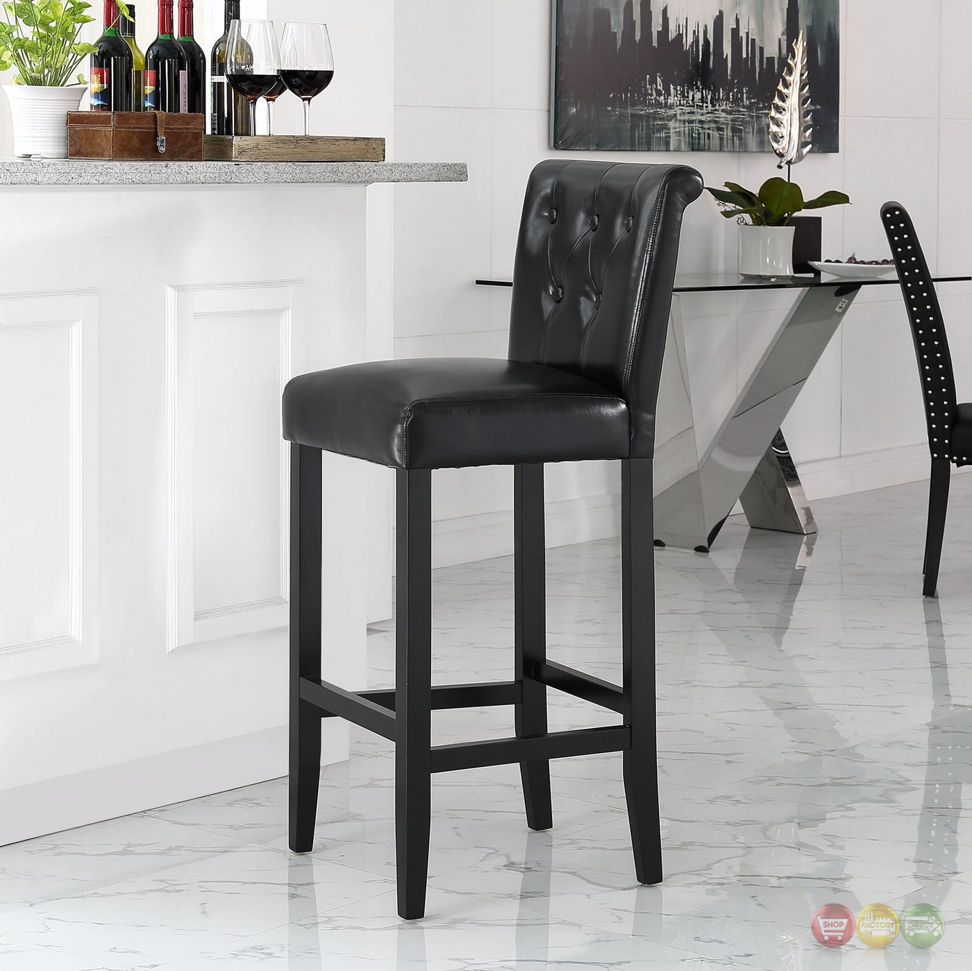 Tender Modern Button Tufted Faux Leather Bar Stool W Foot