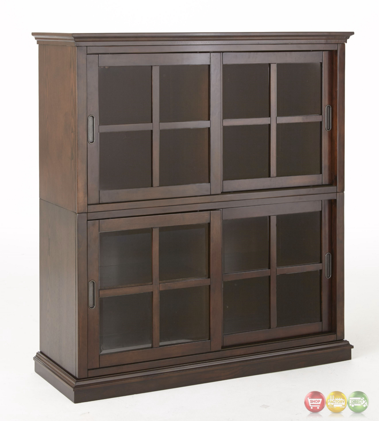 Tenton Stackable Closed Bookcase With Sliding Doors In ...