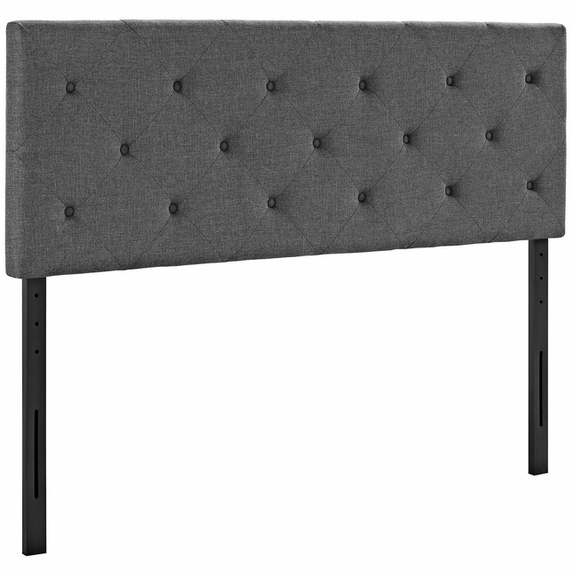 Terisa Modern Button Tufted King Square Fabric Headboard, Gray