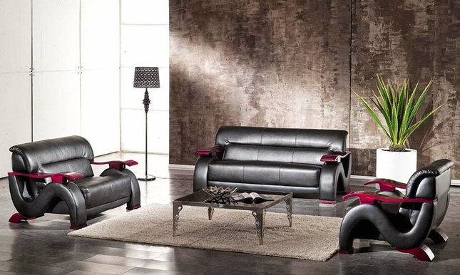 Thad black ultra modern formal living room sets with for Ultra modern living room furniture