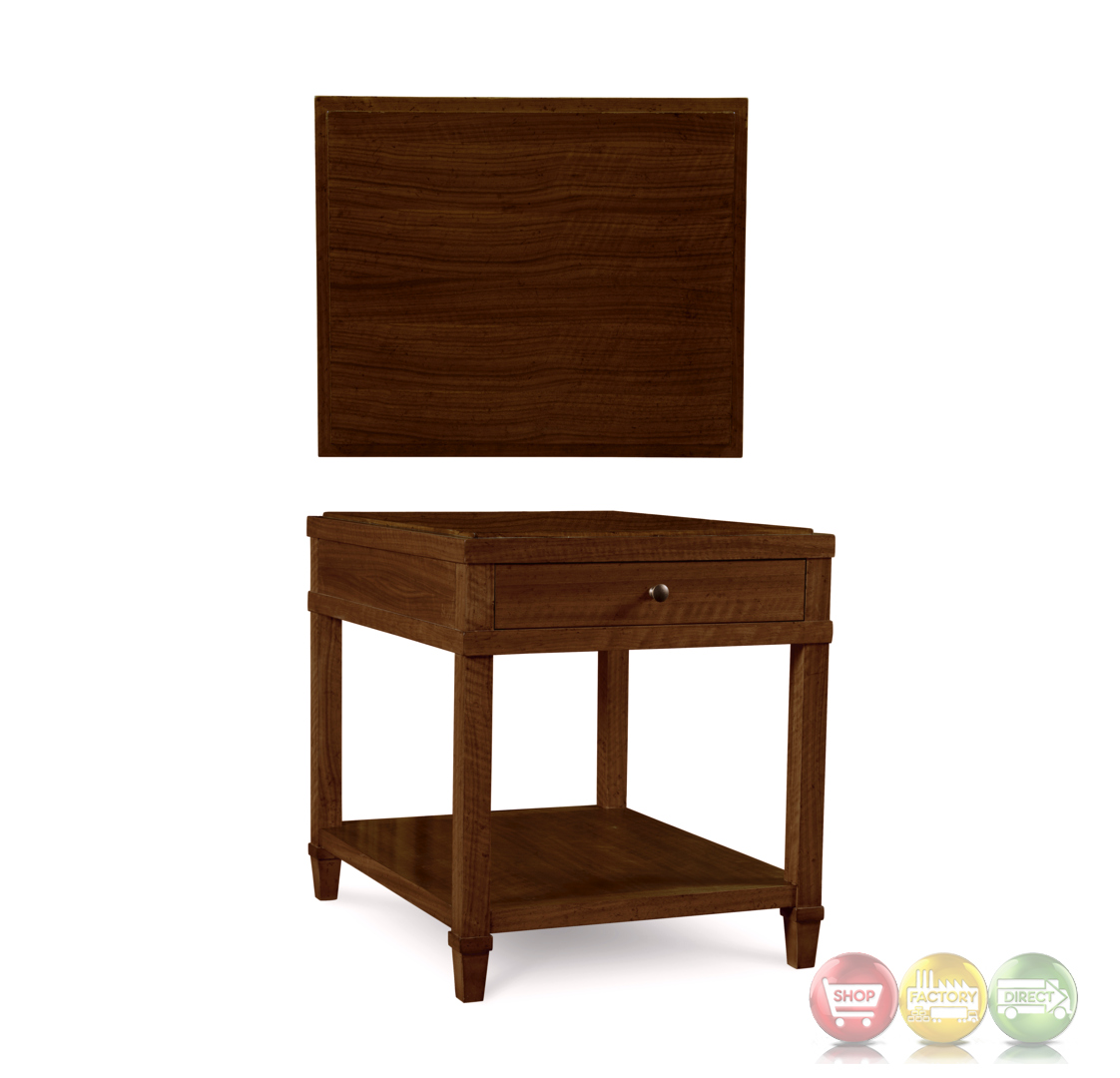 the foundry brownstone end table with drawer and open shelf. Black Bedroom Furniture Sets. Home Design Ideas