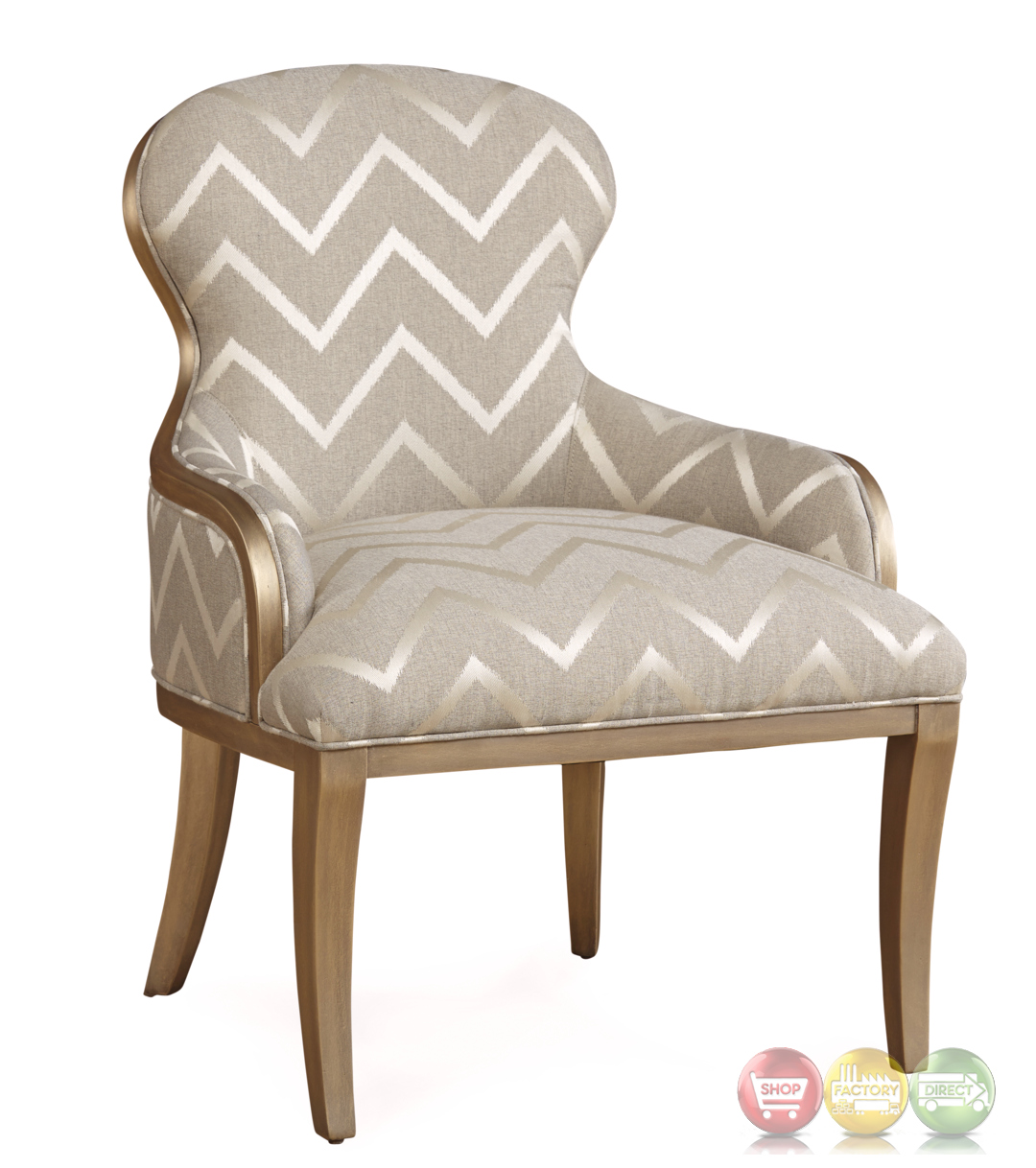 The Foundry French Chevron Accent Chair In Grey And Champagne