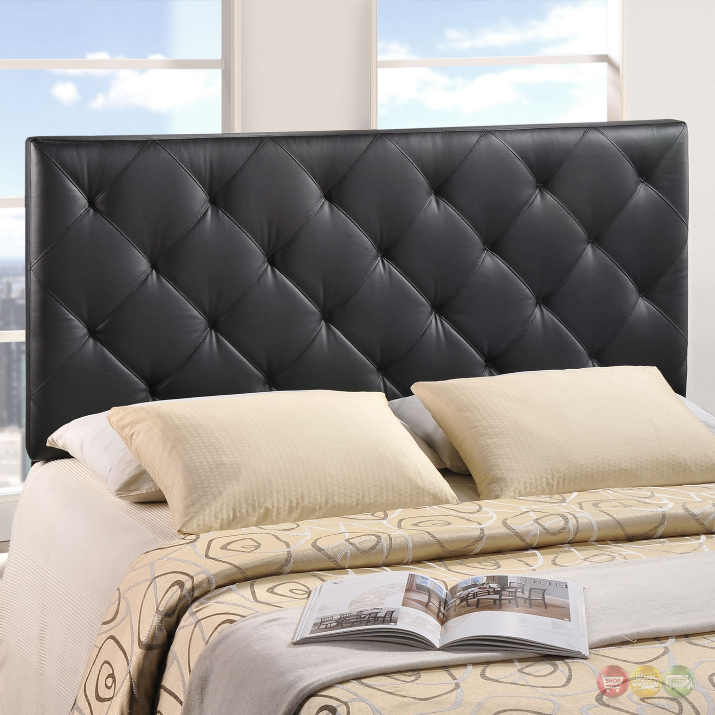 theodore king diamond pattern tufted vinyl headboard black. Black Bedroom Furniture Sets. Home Design Ideas