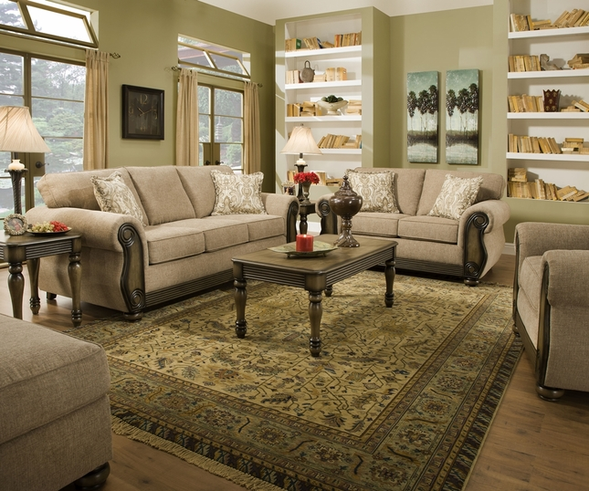 Theory Dunes Traditional Beige Living Room Furniture Set W Exposed Wood