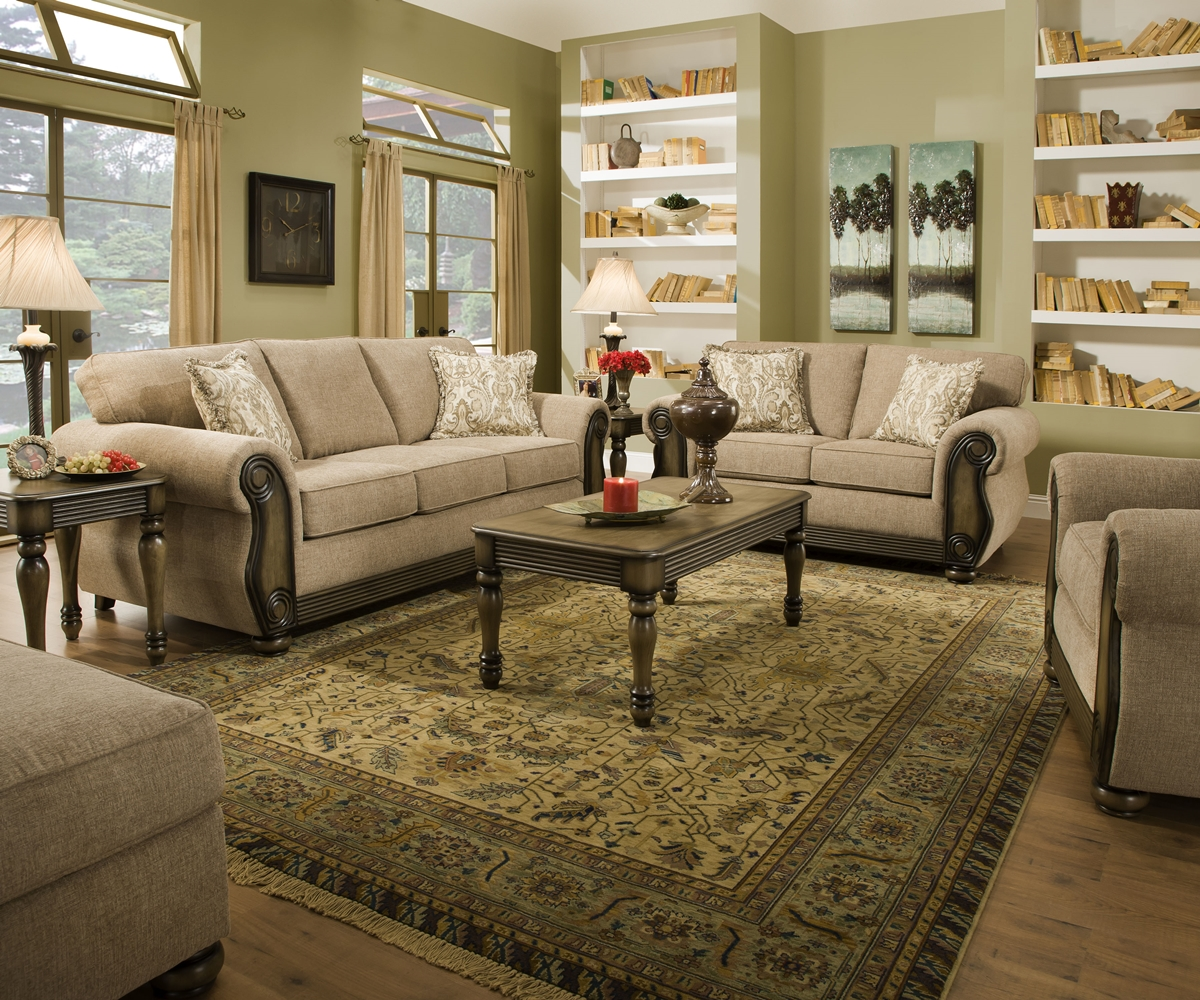 Theory dunes traditional beige living room furniture set w for Wood living room furniture