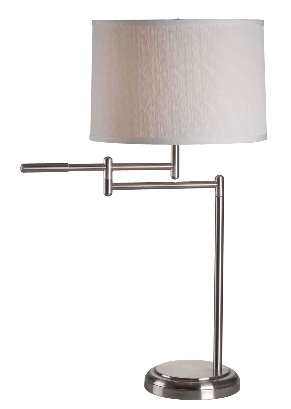 Theta swing arm brushed steel drum shade table lamp for Swing arm floor lamp with drum shade