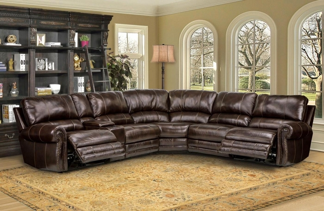 Thurston Havana Modular Genuine Leather Sectional Sofa w/ Armless Recliner