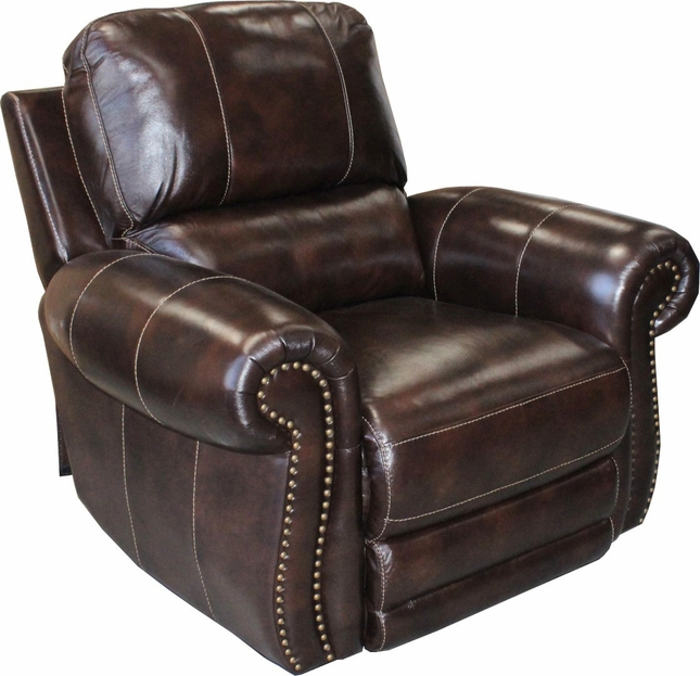 Thurston Power Genuine Leather Recliner In Havana W