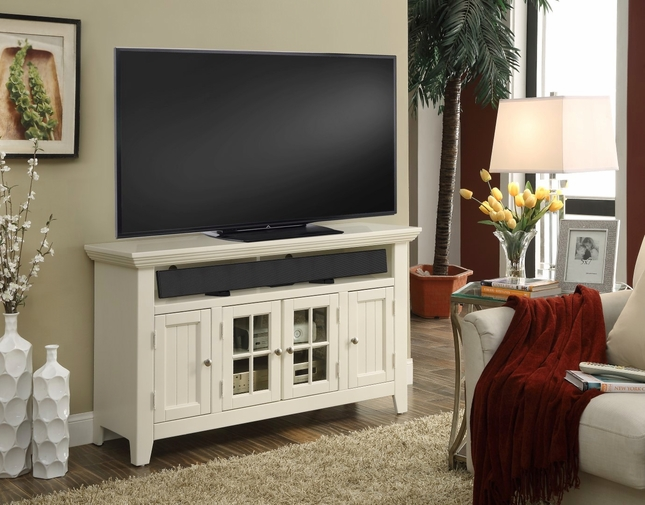 3e7618f672f Tidewater Traditional 50 in. TV Console Finished in Vintage White w   lattice Doors