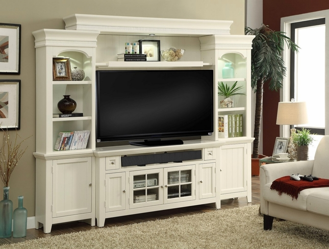 """Tidewater Traditional 62"""" Console Entertainment Center in Vintage White"""
