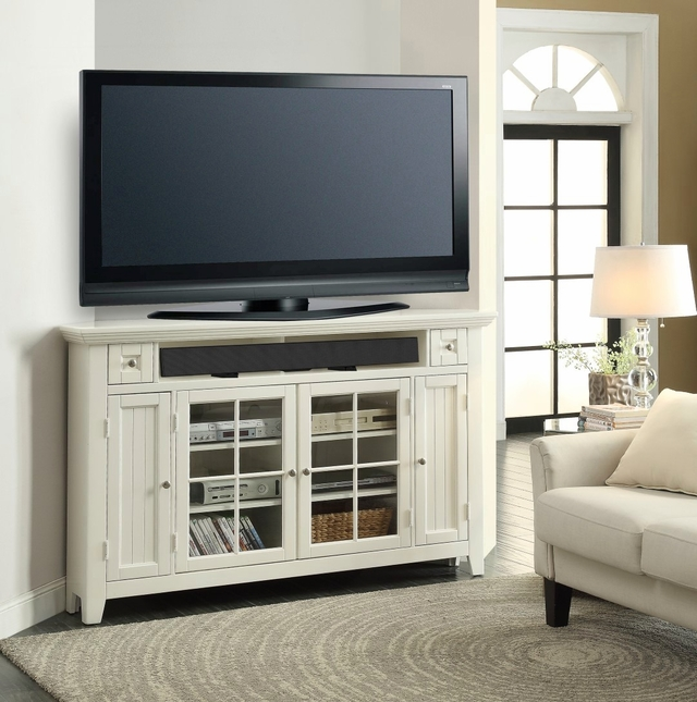 Tidewater Traditional 62 in. Corner Tall TV Console in Vintage White w/ lattice Doors