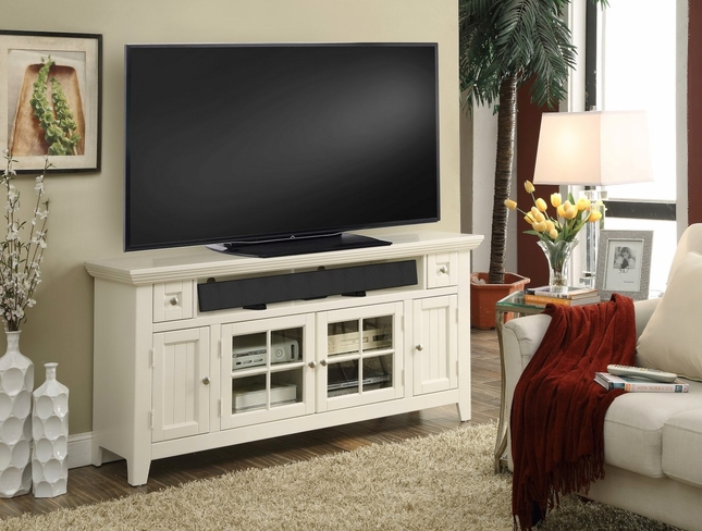 Tidewater Traditional 62 in. TV Console Finished in Vintage White w/ lattice Doors