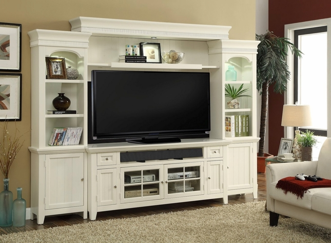"""Tidewater Traditional 72"""" Console Entertainment Center in Vintage White"""