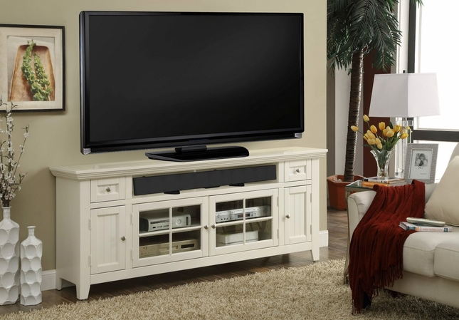Tidewater Traditional 72 in. TV Console Finished in Vintage White w/ lattice Doors