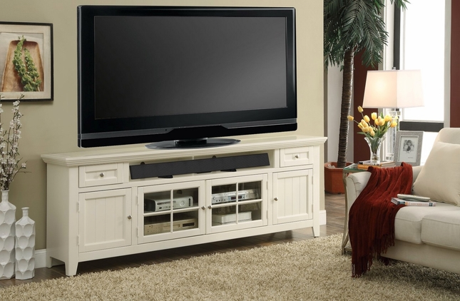 Tidewater Traditional 84 in. TV Console Finished in Vintage White w/ lattice Doors