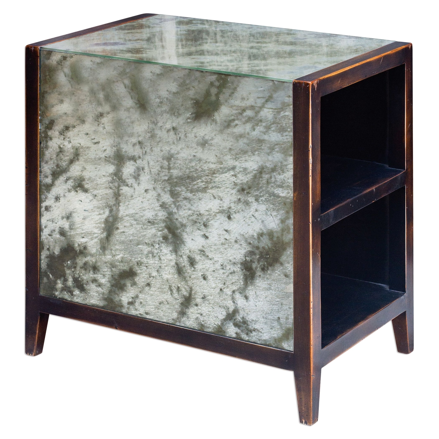 tierney mahogany wood end table with antiqued mirror top and side panel storage. Black Bedroom Furniture Sets. Home Design Ideas