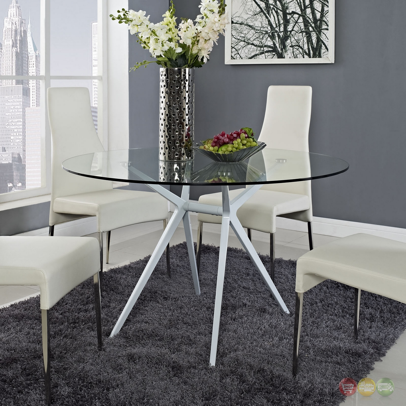 "Tilt Modernistic 47"" Round Dining Table With Tempered"