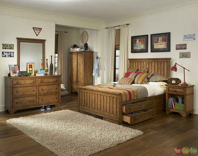 Timber Lodge Worn Khaki Country Panel Full Youth Bed
