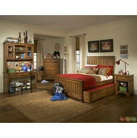 Timber Lodge Worn Khaki Country Panel Twin Youth Bed