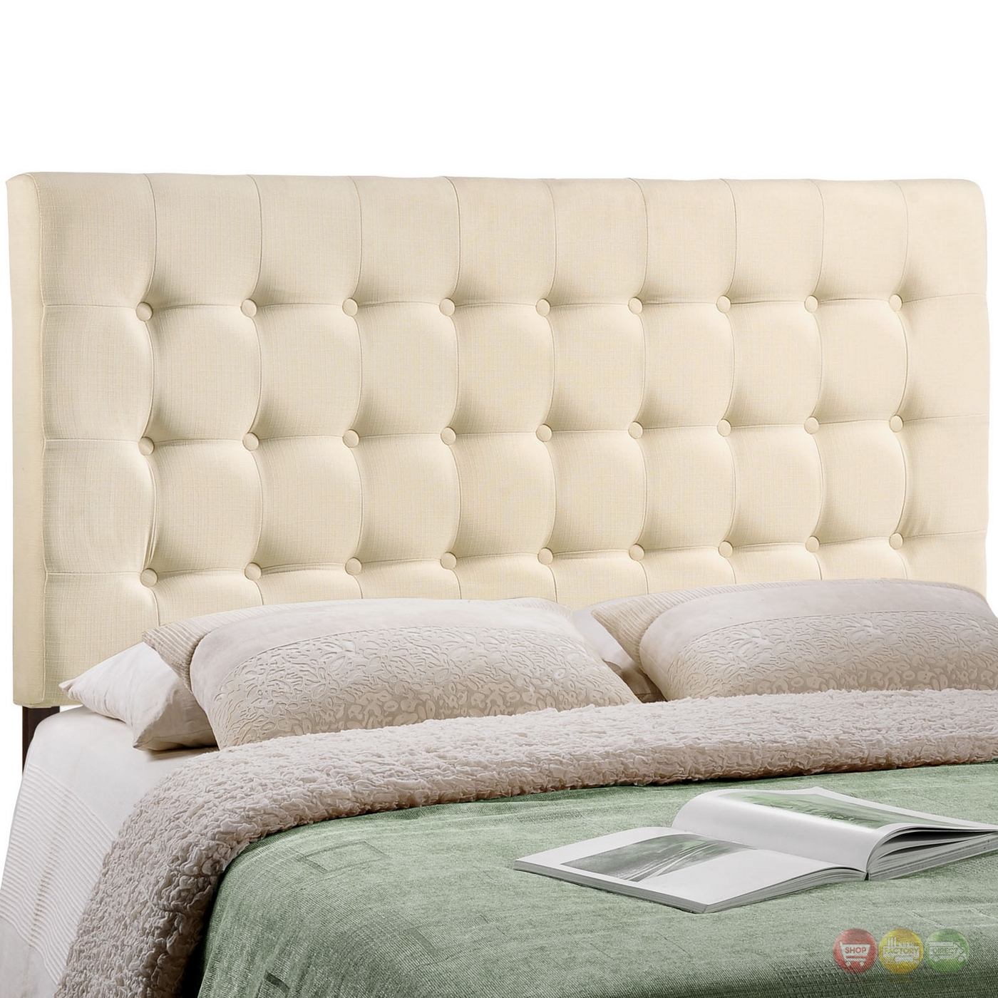 Tinble Plush Button Tufted Upholstered Queen Headboard Ivory