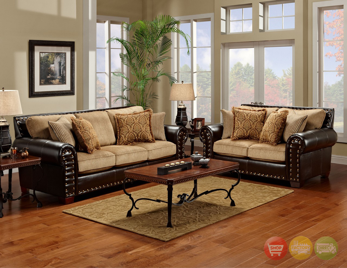 Tinga marino traditional brown tan living room set for Living room furniture pictures