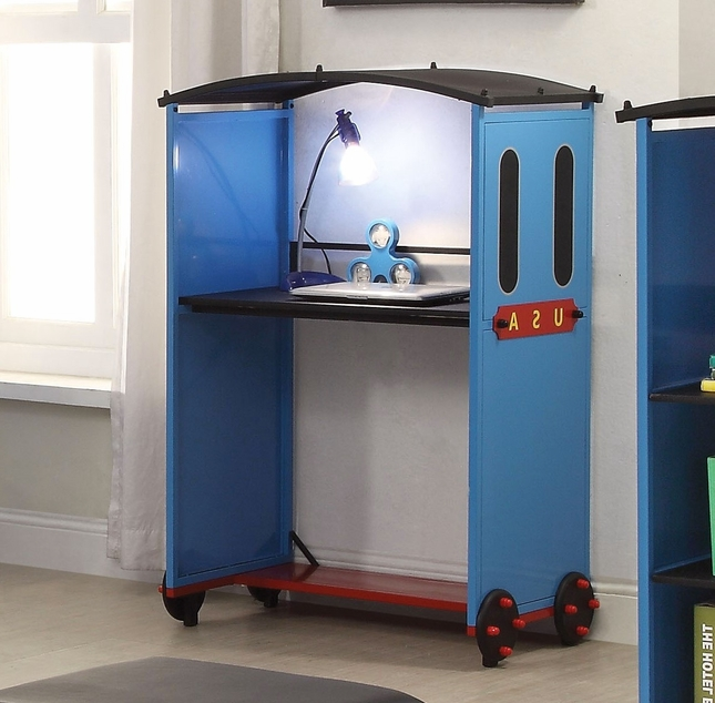 Tobi Kids Modern Tank Engine Caboose Desk in Blue, Red, & Black Finish