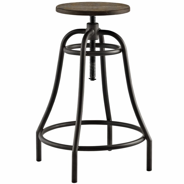 Toll Rustic Industrial Round Steel Bar Stool With Bamboo Seat, Brown
