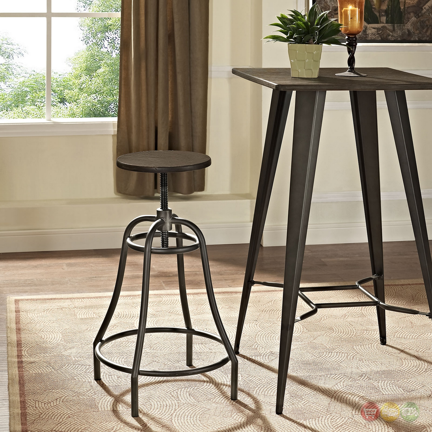 Toll Rustic Industrial Round Steel Bar Stool With Bamboo