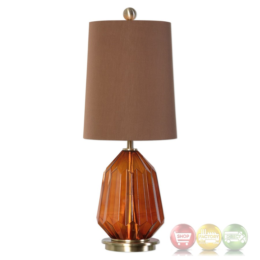 Tomoka Grooved Dark Amber Glass Table Lamp With Round