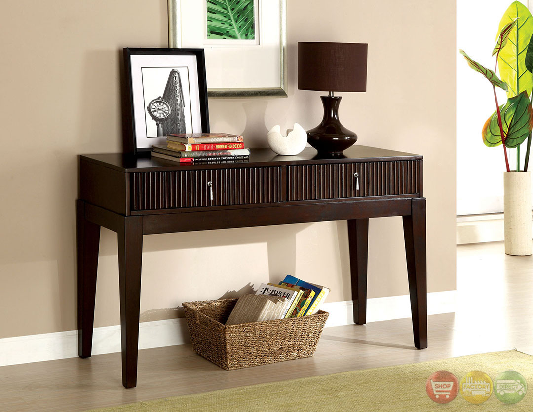 Torino Contemporary Dark Walnut Accent Tables With Storage Drawers Cm4200