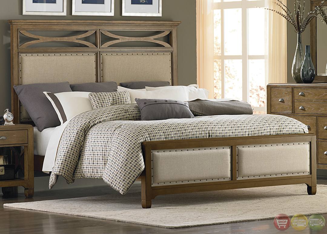 Town and country distressed upholstered panel bedroom set - Distressed bedroom furniture sets ...