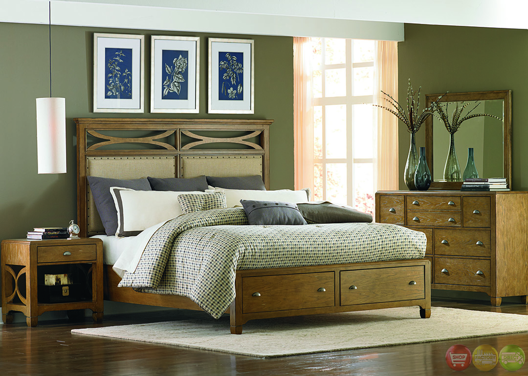Town and country distressed finish storage bedroom set - Distressed bedroom furniture sets ...