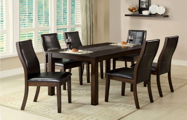 Townsend I Contemporary Brown Cherry Casual Dining Set with Leatherette Chairs