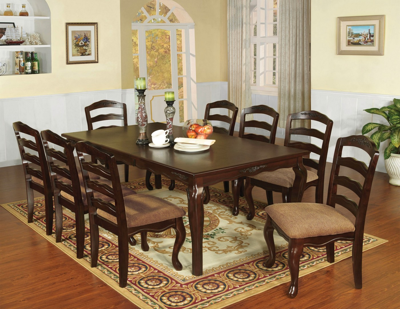 Townsville ii traditional dark walnut casual dining set for Informal dining