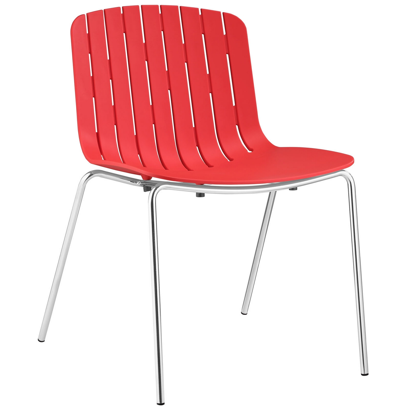 trace modern slat inspired plastic dining side chair with steel frame red. Black Bedroom Furniture Sets. Home Design Ideas