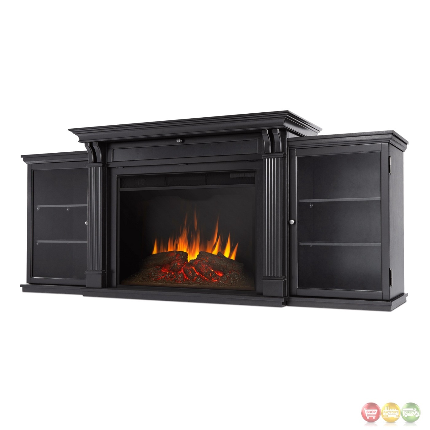 Tracey Grand Entertainment Center Electric Fireplace In Black 84x35