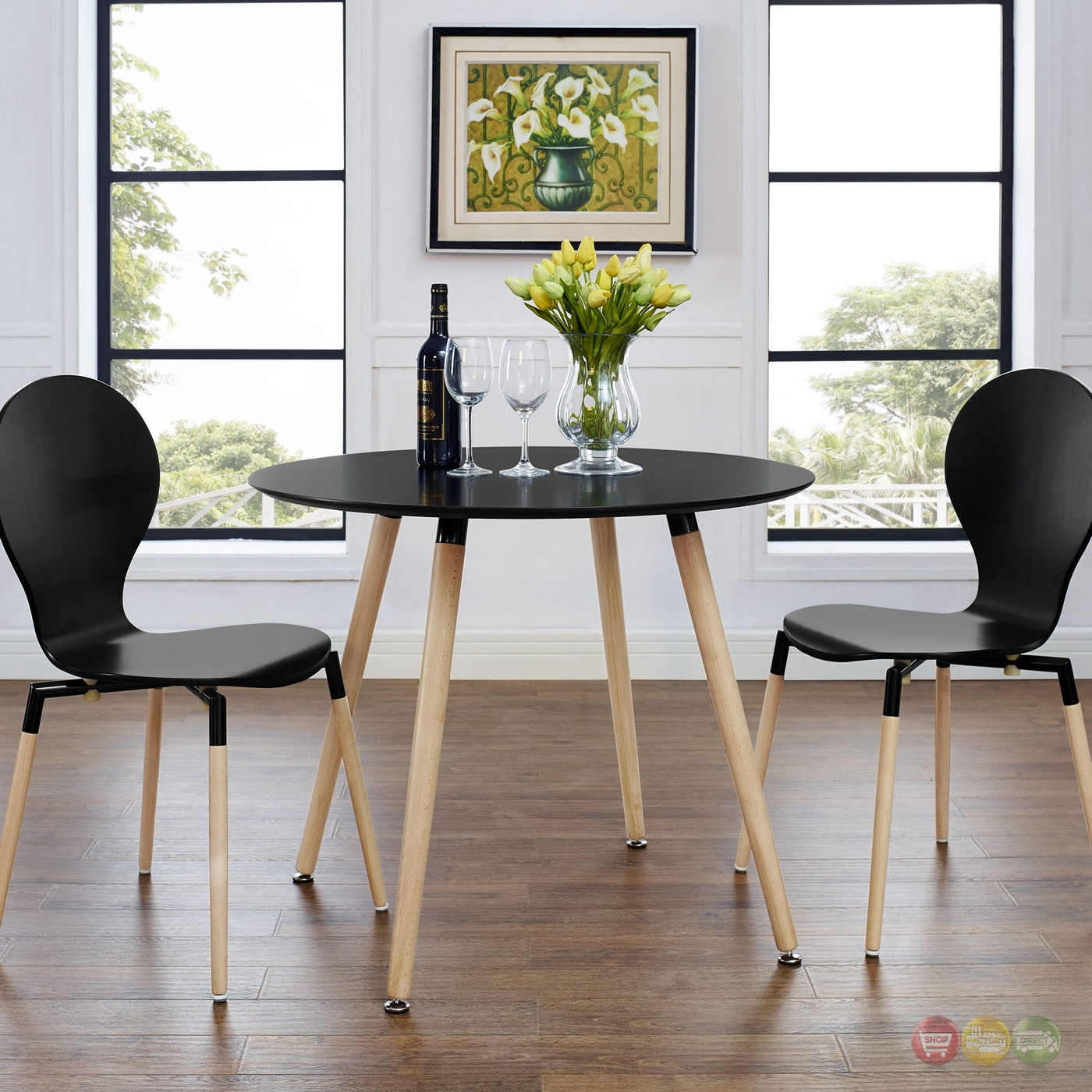track contemporary 40 round wooden dining table black. Black Bedroom Furniture Sets. Home Design Ideas