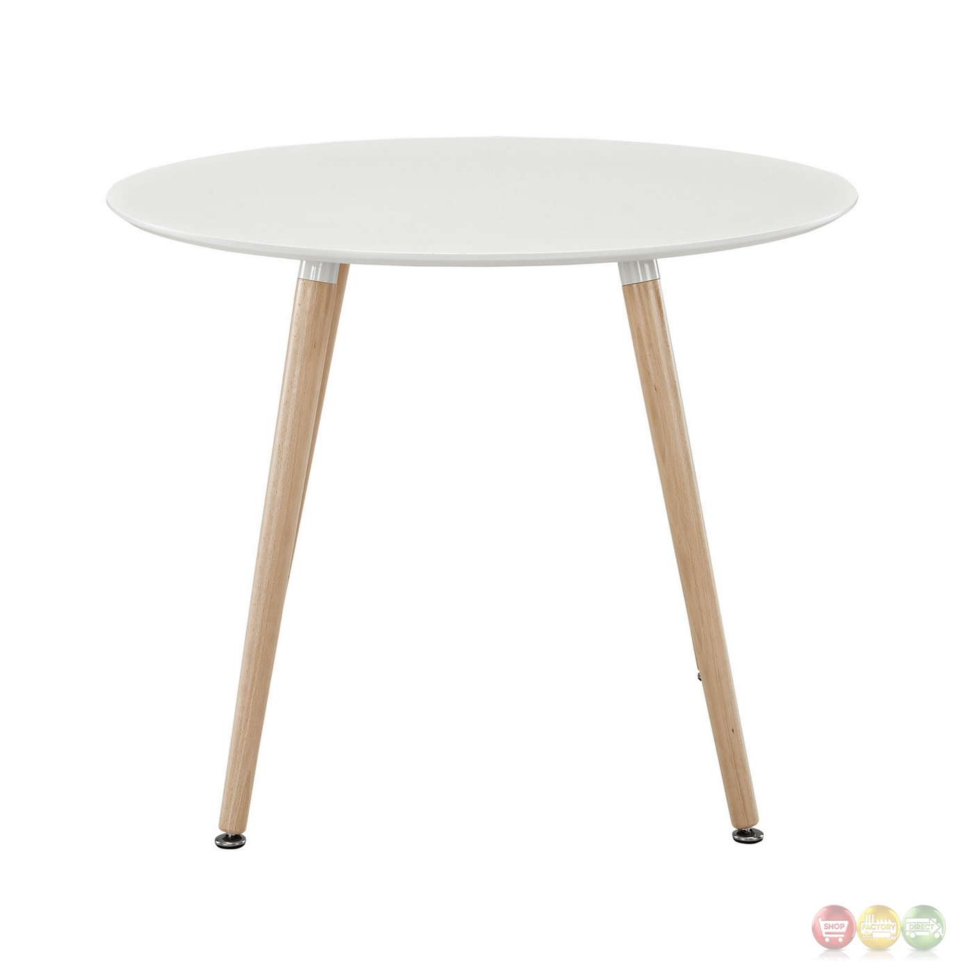 Track contemporary 40 round wooden dining table white for Contemporary round dining table