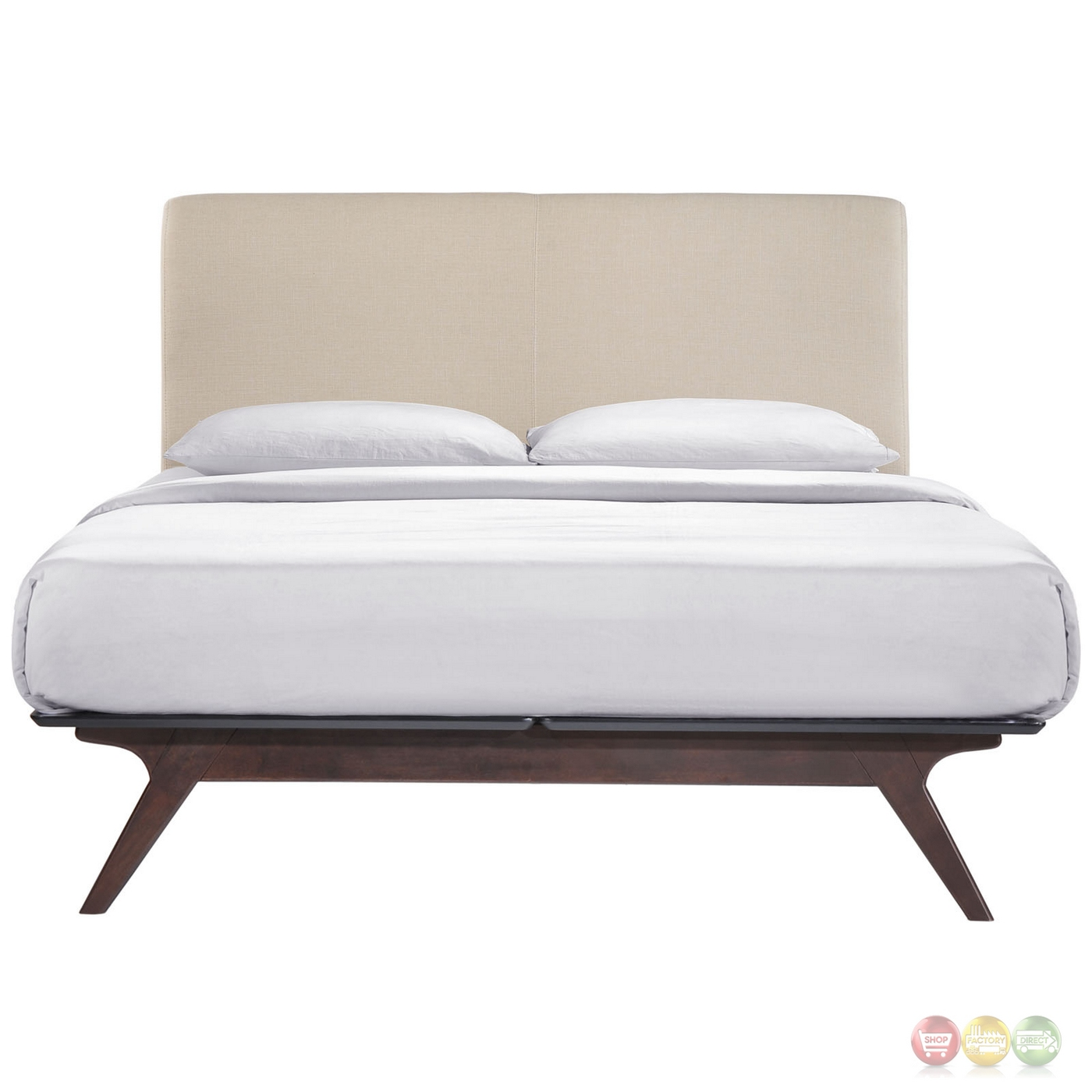 tracy contemporary upholstered platform king bed cappuccino beige. Black Bedroom Furniture Sets. Home Design Ideas